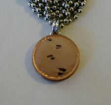 """Lucky Penny Pendant """"Footprints in the Sand"""" Charm 24"""" Necklace Christian Poem"""