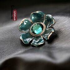 Broche Fleur Email Bleu Vert  Vintage Style Original Soirée Mariage Cadeau XZ 1