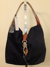 DOONEY & BOURKE NYLON NAVY HOBO LOGO LOCK HANDBAG PURSE BAG NEW BUT AS IS