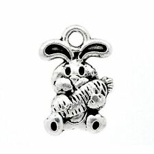10 x Tibetan Silver Rabbit With Carrot Charms Pendant