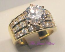 Round Diamond Solitaire Engagement Ring Wide Band Yellow or White Channel set