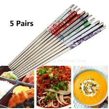 5 Pairs Stainless Steel Chop Sticks Colorful Assorted Home Chinese Chopsticks