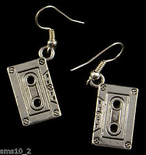 Hand Made Silver Colour Cassette Tape Earrings  HCE277