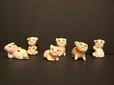 VTG China - Bone China ?? 6 Miniature Playful Pig Figurine In Various Positions