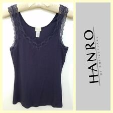 Hanro $75 dark purple soft cotton/modal ribbed lace camisole~M
