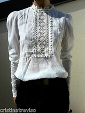HIGH use chemisier blanche dentelle 38 white victorian lace blouse shirt top
