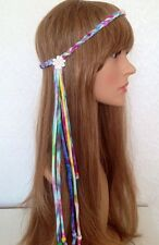 TIE DYE 70s Beaded Daisy Plaited Braided Fringe Headband Boho Hippie Ibiza Fest