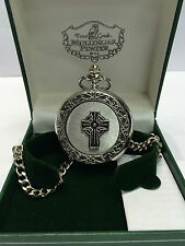 Mechanical Mullingar Pewter Scottish Celtic Cross Pocket Watch Brand New In Box