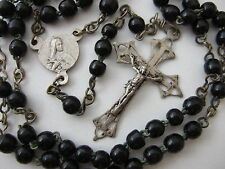 Antique Vintage Catholic Rosary 4.5mm black glass beads St. Therese center medal