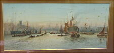 Altes Aquarell London Hafen um 1900 Watercolour England