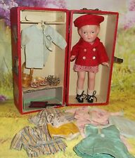 "12"" NANCY marked ARRANBEE composition Cutie in trunk with FACTORY wardrobe"