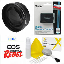 SPORT ACTION TELE ZOOM LENS 2X + LP-E10 LPE10 BATTERY FOR CANON EOS REBEL T3 T5