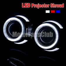 "Pair 2.5""/64MM LED Projector Chrome Shroud Cover Dual Angel HID Lens Halo M88Y"