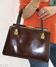STYLISH 70's VINTAGE LARGE BROWN BOXCALF LEATHER KELLY TOTE STYLE HAND BAG MINT