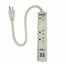 3 Outlet Surge Protector Dual 2 USB Charging Ports Power Socket Strip Adapter BU