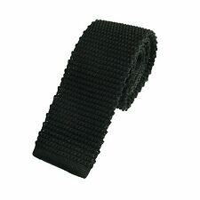 Men's Plain Black Narrow Slim Skinny Silk Knitted Tie