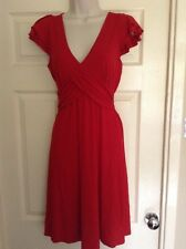 Ex-Awear Red Faux Wrap, Cap Sleeve Dress, Tie Back, Size 10