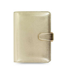 Filofax Personal Size Saffiano Organiser Diary Planner Gold Leather - 022506