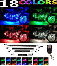 8pc RGB 18 Color LED Knight Rider Ground Effect Light Kit For Motorcycle Bike