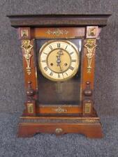 ANTIQUE GERMAN MANTEL CLOCK, BRASS DECORATION, PILLAR OF STRENGTH by T.H.