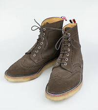 New. THOM BROWNE Brown Suede Leather Wingtip Lace-Up Ankle Boots 11.5/44.5 $1120