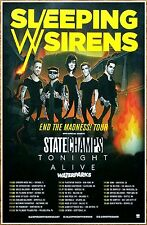 SLEEPING WITH SIRENS | STATE CHAMPS | TONIGHT ALIVE 2016 Tour Ltd Ed RARE Poster