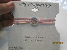 NEW All Wrapped Up Sterling Silver Heart Link Wrap Bracelet Pink Chord