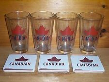MOLSON CANADIAN 4 BEER PINT GLASSES & 30 BAR COASTERS NEW