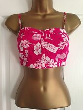 BNWT Hollister Pink White Tropical Print Strappy Crop Top Size M Medium