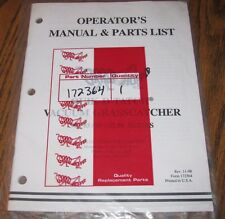Grasshopper Mower 90 93 95 96SL Vacuum Grasscatcher Operators & Parts Manual NEW