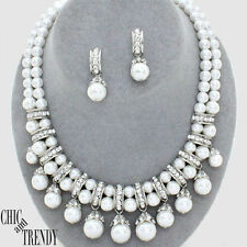 HIGH END WHITE PEARL & CRYSTAL PROM WEDDING FORMAL CHUNKY NECKLACE JEWELRY SET