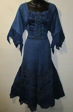 Dress Size 2X 3X Plus Renaissance Navy Blue Corset Lace Up Chest and Hem NWT 522