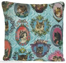 Cats Cushion Cover Blue Decorative Throw Pillow Case Fabric Framed Cat B 16""