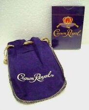 Crown Royal Whiskey Playing Cards NIP & Purple Cotton Felt Drawstring Bag NOS