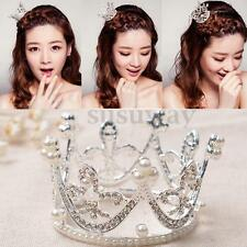 Mini Crown Kid Bridal Princess Pearl Rhinestone Pageant Tiara Crown Headpiece