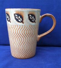 Just Mugs Coffee Mug Cup Made in England Leaf and Ripple Design Tan Pottery