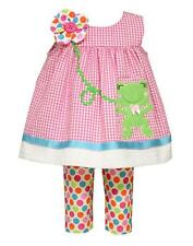 New Girls Bonnie Jean sz 4T Pink Dot FROG Outfit Easter Spring Summer Clothes