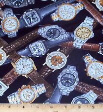 Wrist Watches I Spy Fabric by Yard Quilt Sew 100% Cotton Novelty Man Cave