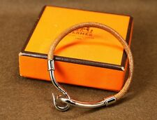 Authentic Vintage HERMES Bangle Jumbo Hook Bracelet Leather Brown Silver box