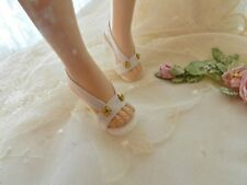 "White with Vintage Brads ~High Heel Doll Shoes for 20"" Miss Revlon, Cissy & Othe"