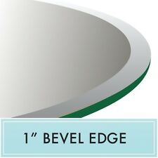 """72"""" Inch Clear Round Tempered Glass Table Top 1/2"""" thick - Bevel edge"""