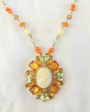 New Lady Cameo Vintage Style Citrine Orange Pendant Beaded Chain Necklace NE1248