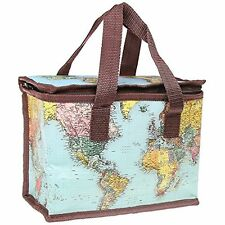World Traveller insulated Map Lunch Bag School Picnic Zipped LP