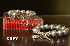 Elegant Majorica Pearl Rosary Bracelet (Grey)