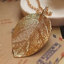 High Gloss Gold Plated Leaf Pendant Sweater Necklace Long Link Chain Jewelry