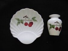 ROYAL WORCESTER  Evesham Scallop Dish with Red Cherries & Miniature Vase MINT
