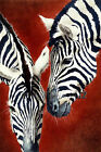 Black and White Zebra Painting Hot Red Background Canvas Art Home Decor 24x16in