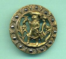 Large Antique Brass Picture Button w Cut Steels...Puss In Boots...Cat Rat Animal