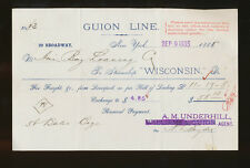 1885 SS Wisconsin Shipping Invoice / Bill - Guion Line