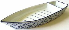 "CERAMIC Boat Shaped PLATE #1 Thai Asian Blue White PLATTER 13"" x 4.8"" MICROWAVE"